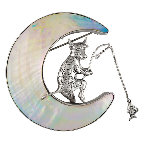 Cow Fishing on A Shell Moon Sterling Silver Pin