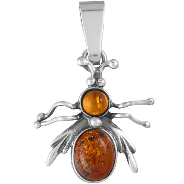 Amber Bee Sterling Silver Pendant