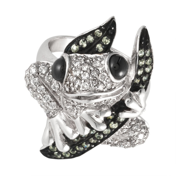 Zirconia Studded Tree Frog Sterling Silver Ring