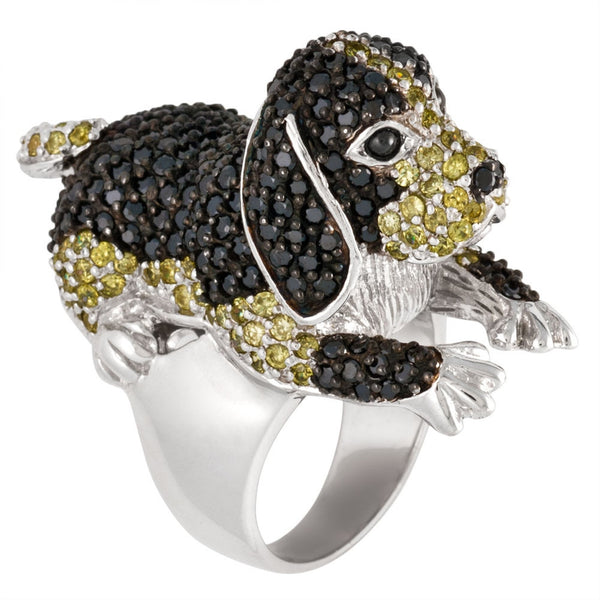 Zirconia Studded Large Beagle Sterling Silver Ring