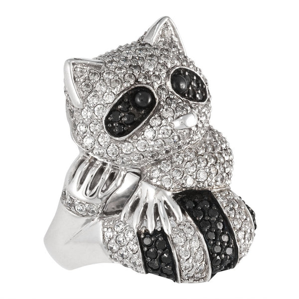 Zirconia Studded Raccoon Sterling Silver Ring