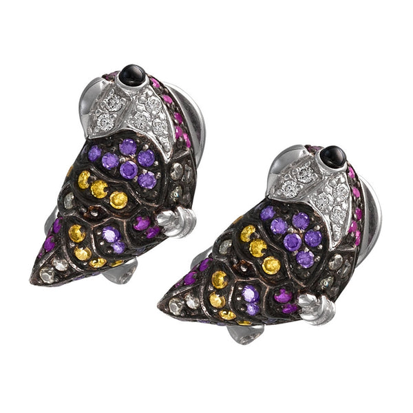 Zirconia Studded Parrot Sterling Silver Earrings