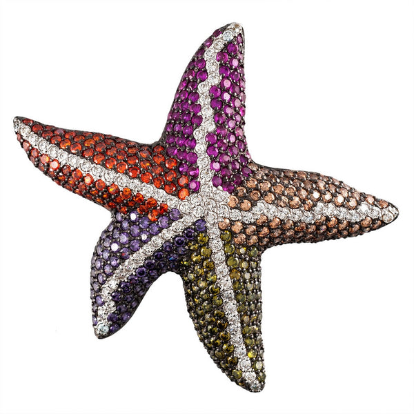 Zirconia Studded Starfish Sterling Silver Pin/Pendant