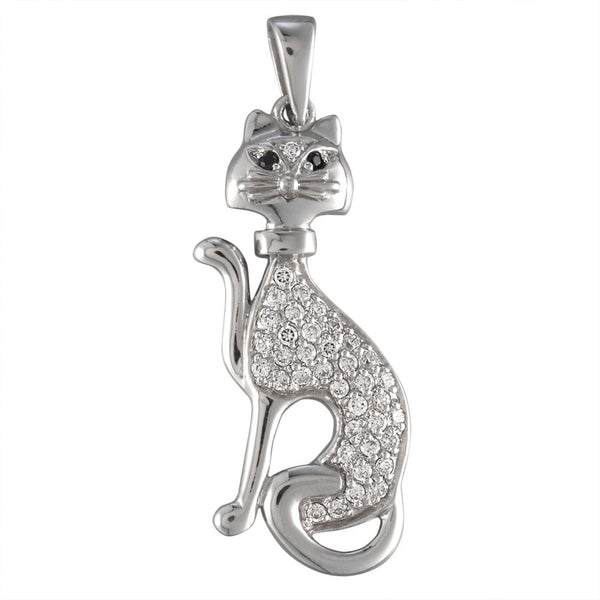 Zirconia Studded Cat Sterling Silver Pendant