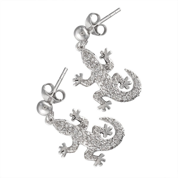Zirconia Studded Small Gecko Sterling Silver Earrings