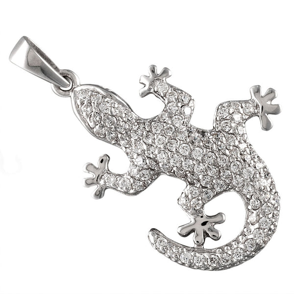 Zirconia Studded Small Gecko Sterling Silver Pendant