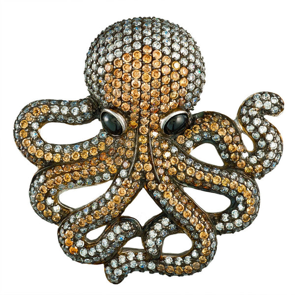 Zirconia Studded Octopus Sterling Silver Pin/Pendant