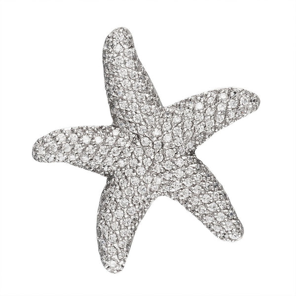 White Zirconia Studded Starfish Sterling Silver Pendant