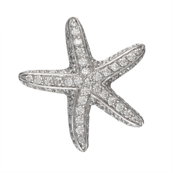 White Zirconia Studded Thin Starfish Sterling Silver Pendant