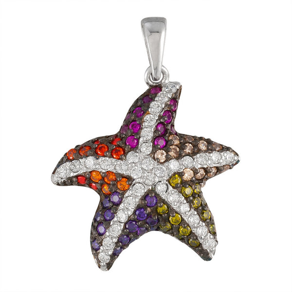 Small Zirconia Studded Starfish Sterling Silver Pendant