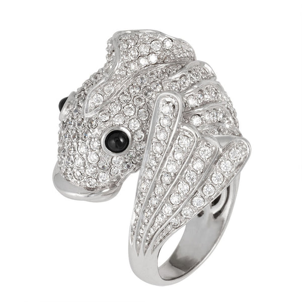Zirconia Studded Fish Sterling Silver Adjustable Ring