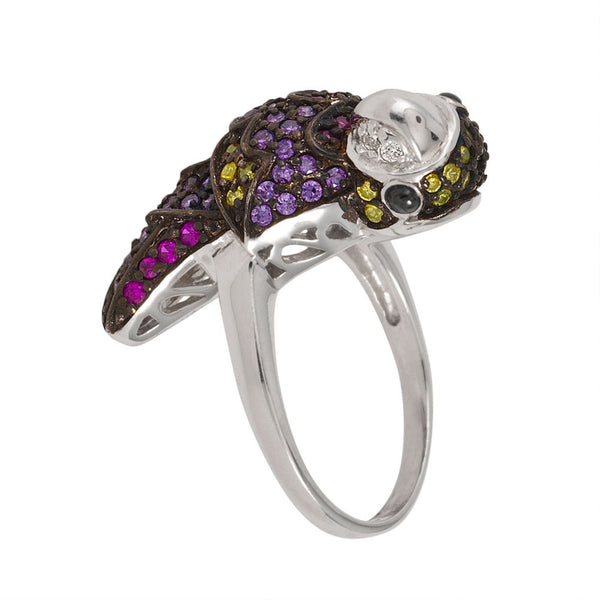 Zirconia Studded Parrot Sterling Silver Ring