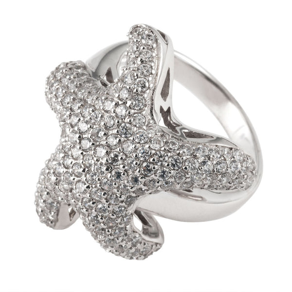 White Zirconia Studded Starfish Sterling Silver Ring