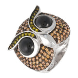Zirconia Studded Owl Face Sterling Silver Ring
