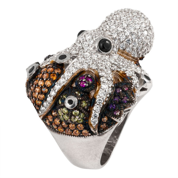 Zirconia Studded Octopus Sterling Silver Ring