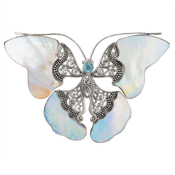 Blue Topaz Butterfly With Shell Wings Sterling Silver Pin