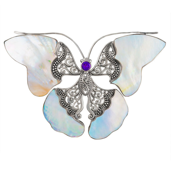 Butterfly With Shell Wings Sterling Silver Pin