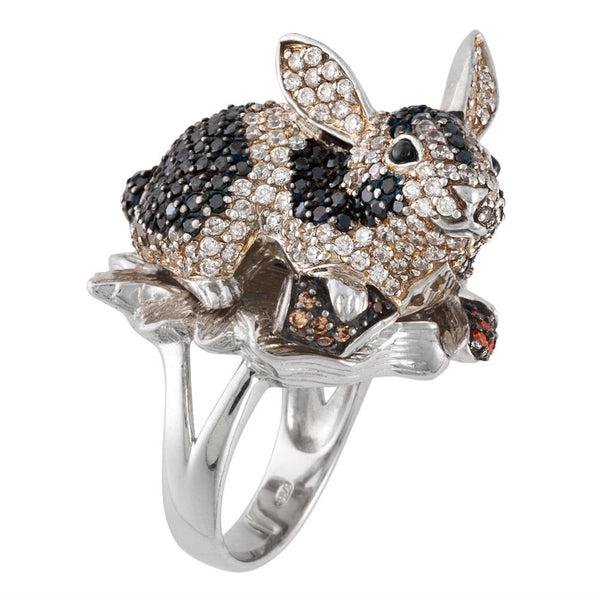 Zirconia Studded Rabbit Sterling Silver Ring