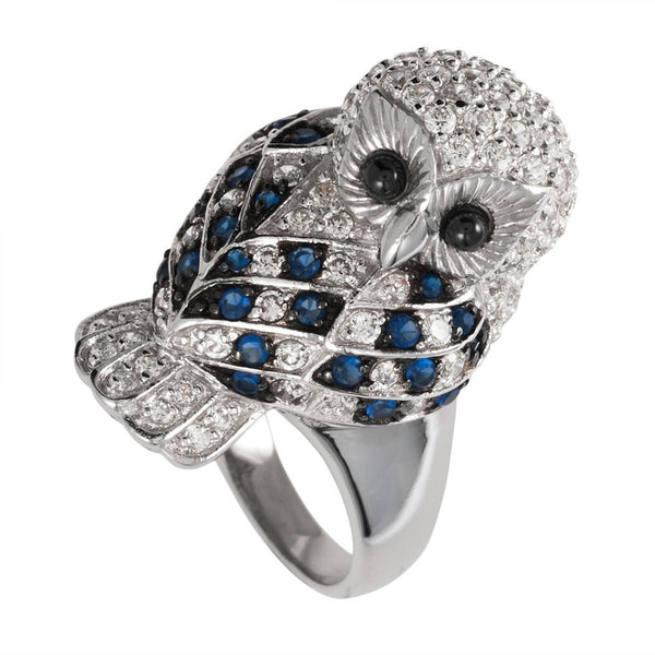 Blue Zirconia Studded Owl Sterling Silver Ring