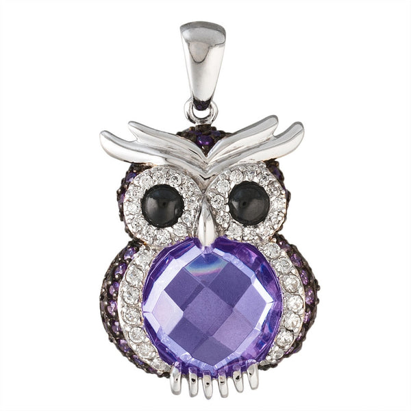 Zirconia Studded Owl Sterling Silver Pendant