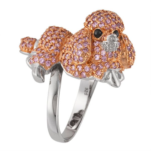 Pink Zirconia Studded Poodle Sterling Silver Adjustable Ring