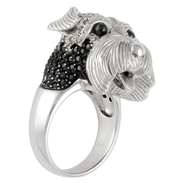 Zirconia Studded Schnauzer Sterling Silver Ring