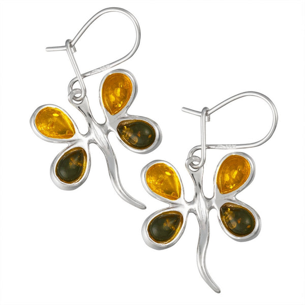 Yellow and Green Amber Dragonfly Sterling Silver Earrings