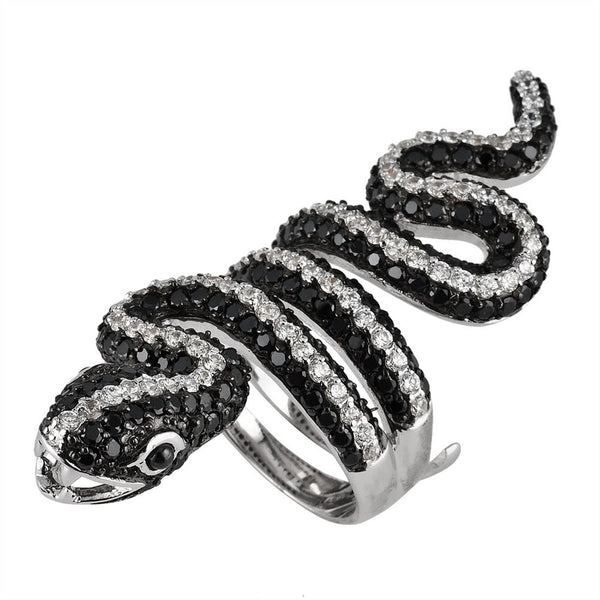 Black And White Zirconia Studded Snake Sterling Silver Adjustable Ring