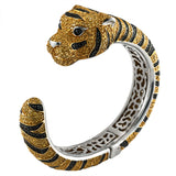 Zirconia Studded Tiger Sterling Silver Cuff Bangle