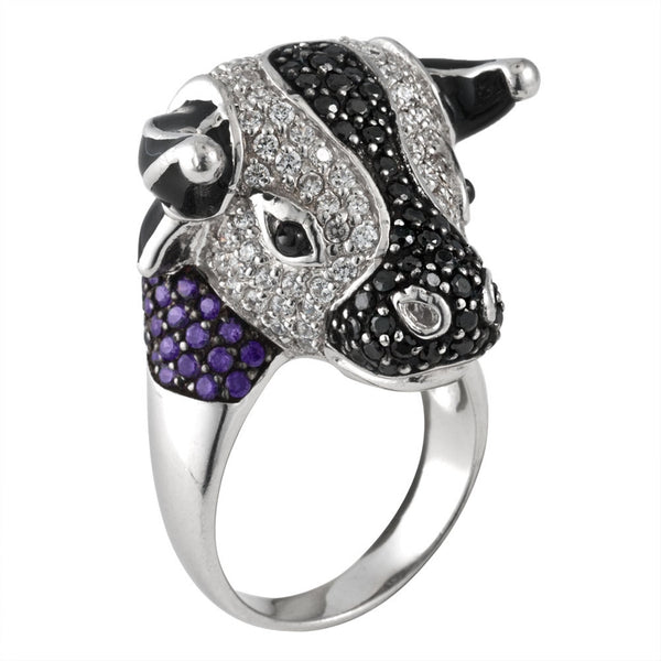 Zirconia Studded Bull Head Sterling Silver Ring