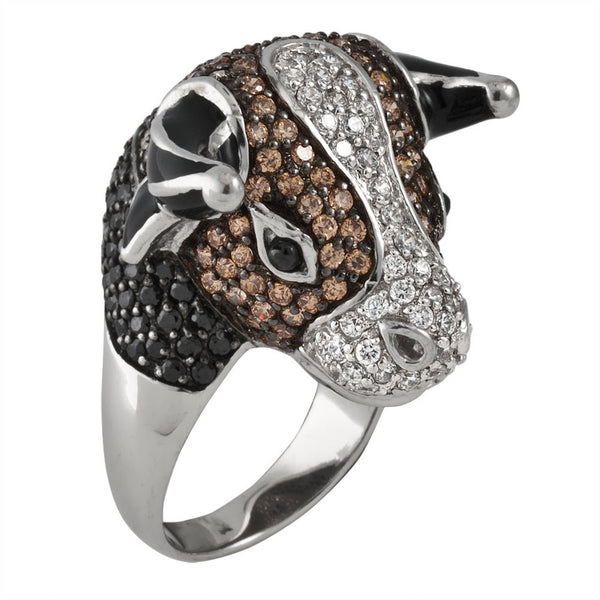 Brown Zirconia Studded Bull Head Sterling Silver Ring