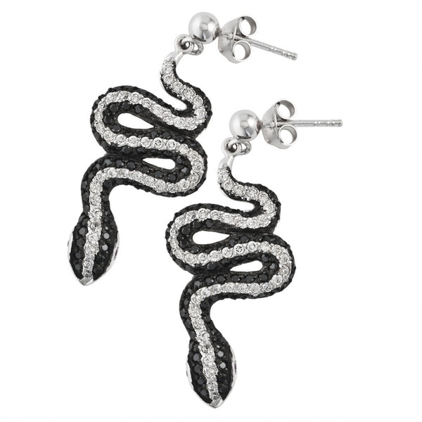 Black Zirconia Studded Snakes Sterling Silver Dangle Earrings