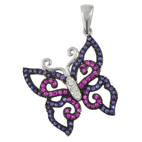 Black Zirconia Studded Butterfly Sterling Silver Pendant