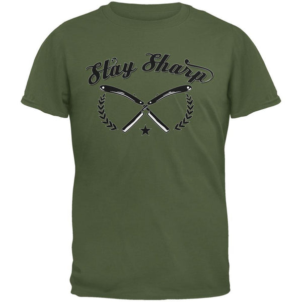 Stay Sharp Military Green Adult T-Shirt