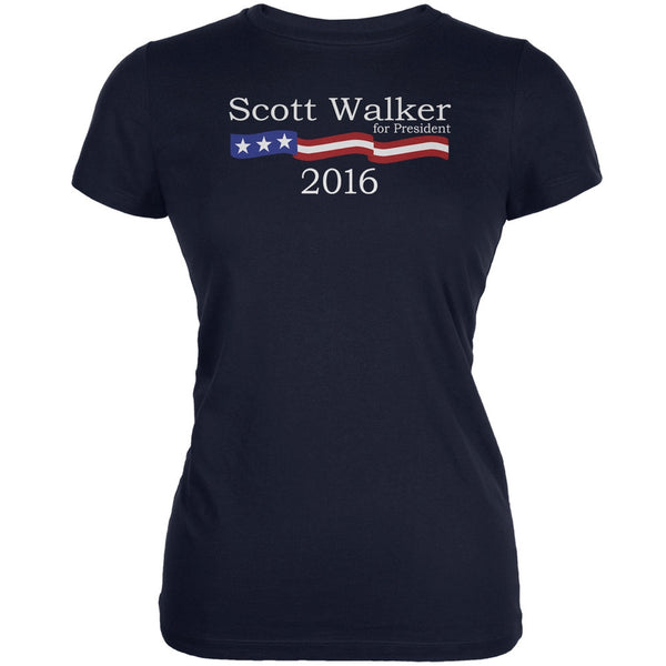 Election 2016 Scott Walker Logo Navy Juniors Soft T-Shirt