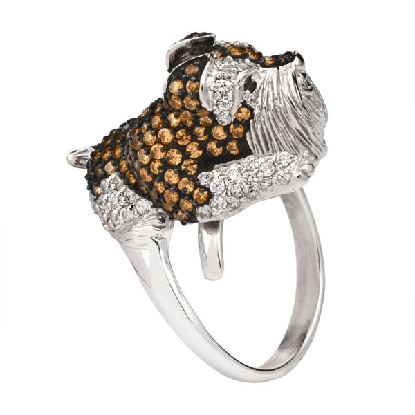 Brown Zirconia Studded Schnauzer Sterling Silver Adjustable Ring