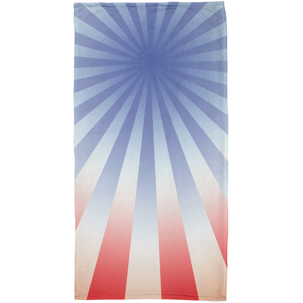 4th of July Patriot Starburst All Over Beach Towel