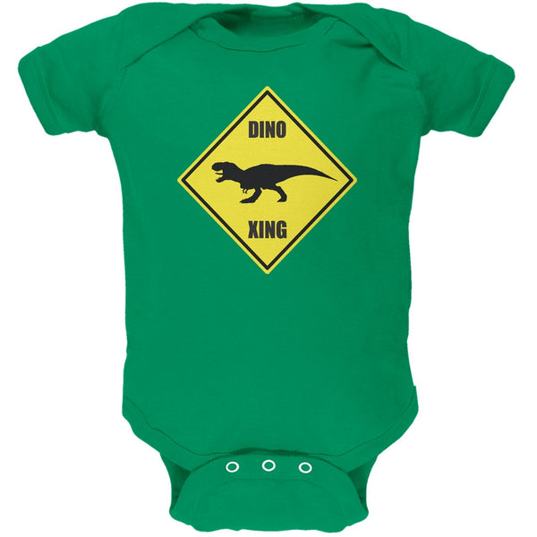 Dino Crossing Kelly Green Soft Baby One Piece