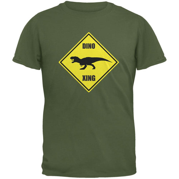 Dino Crossing Military Green Adult T-Shirt