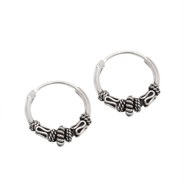 12mm Bali Sterling Silver Hoop Rope Earrings