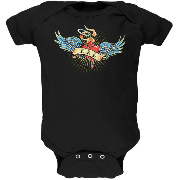 Father's Day - Vintage Dad Tattoo Black Soft Baby One Piece
