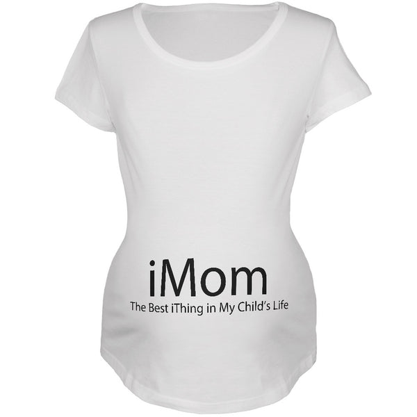 Mother's Day - iMom funny Geek White Maternity Soft T-Shirt