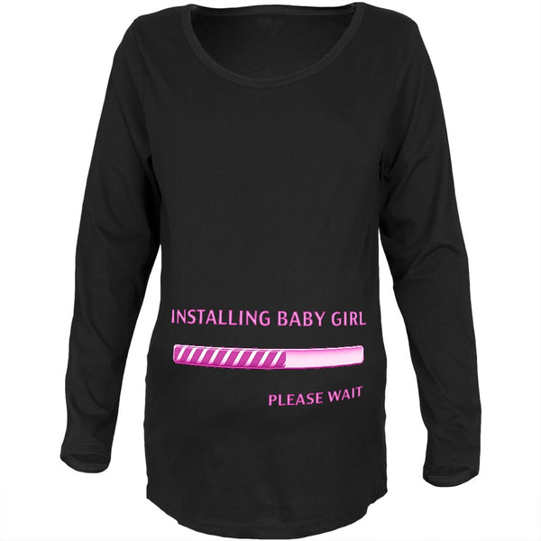 Installing Baby Girl Funny Black Maternity Soft Long Sleeve T-Shirt