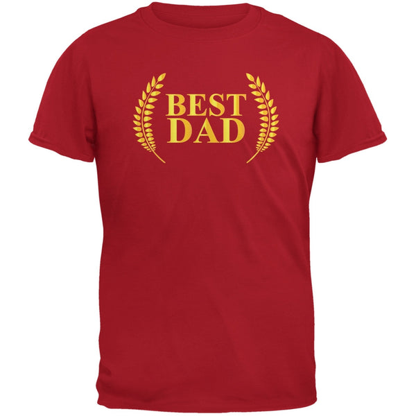 Fathers Day - Best Dad Laurel Red Adult T-Shirt