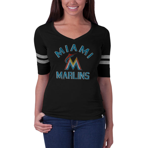 Miami Marlins - Dual Logo Flanker Black Juniors Stripe Premium T-Shirt