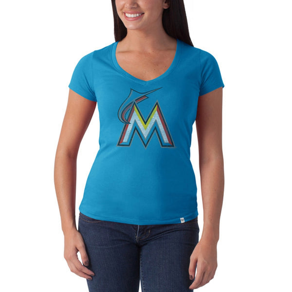 Miami Marlins - Large M Logo Flanker Light Blue Juniors Premium V-Neck T-Shirt
