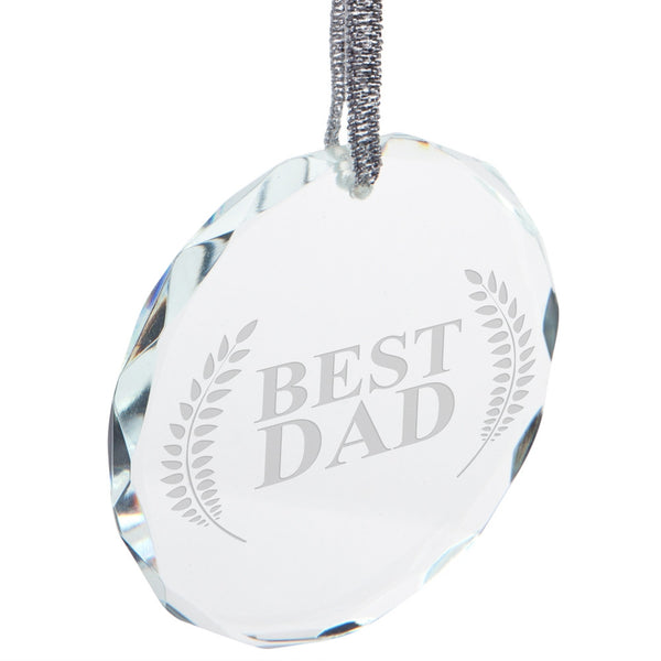 Father's Day - Best Dad Laurel Etched Round Crystal Ornament
