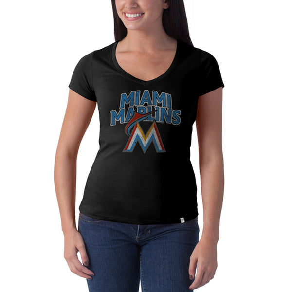 Miami Marlins -Stacked Logo Flanker Black Juniors Premium V-Neck T-Shirt