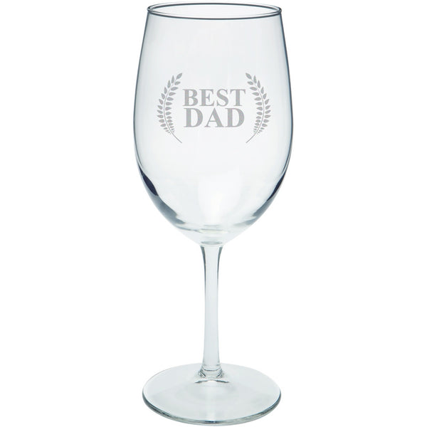 Father's Day - Best Dad Laurel Etched White Wine Glass