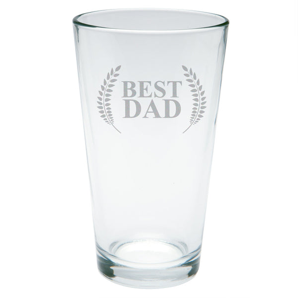 Father's Day - Best Dad Laurel Etched Pint Glass